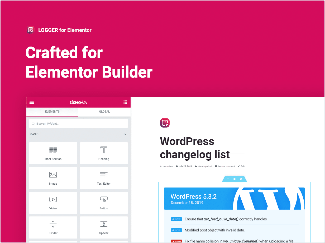 Changelog Lists Crafted for Elementor Builder