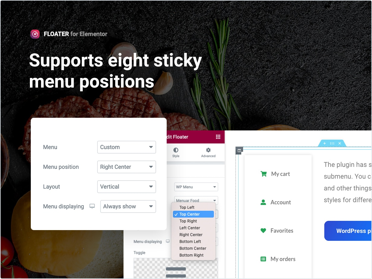 Support eight sticky menu position